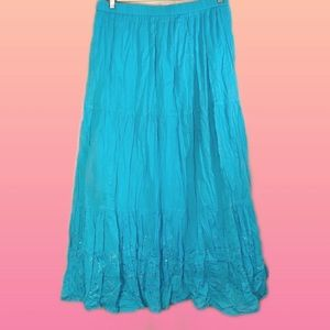 Turquoise blue mid-length broomstick skirt, 3X